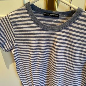 Brandy Melville blue and white striped t-shirt OS